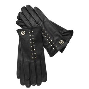 Michael Kors | Black Astor Studded Leather Gloves